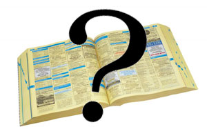 Phone book with question mark