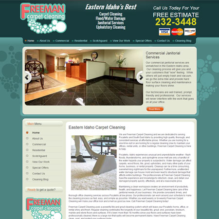 Full Website Design For Pocatello Carpet Cleaning Firm Includes Branding Custom Contact Forms M Dot Style Mobile And Blog